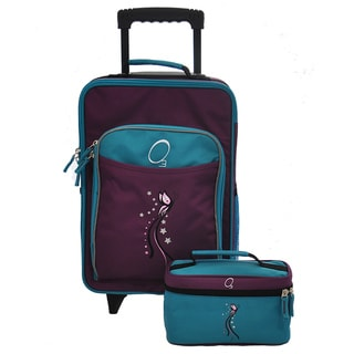 Obersee Kids Turquoise Butterfly 2-piece Carry On Upright and Toiletry Bag Set