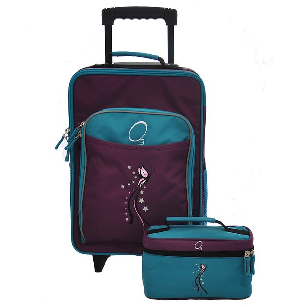 428d8944728e Obersee Kids Turquoise Butterfly 2-piece Carry On Upright and Toiletry Bag  Set