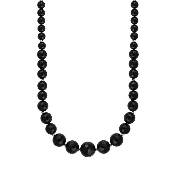 Sterling Silver Graduated Faceted Black Agate Bead Necklace with 5mm Ball Stud Earrings