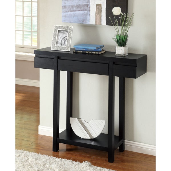 Modern Entry Tables: Shop Black Finish Console Sofa Entry Table With Drawer