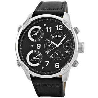 JBW Men's 'G4' Multi Time Zone Black Strap Lifestyle Diamond Watch