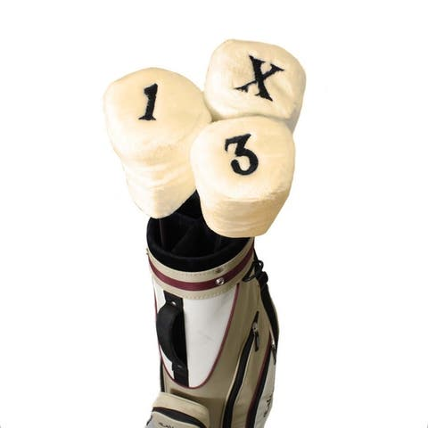 Pro Source Embroidered Golf Club Faux Fur Headcovers (Set of 3)