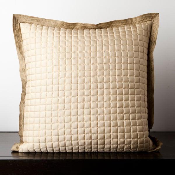 Cairine Beige Quilted 18x18-inch Decorative Pillow