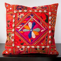 Calista Orange Embroidered 18-inch Decorative Pillow