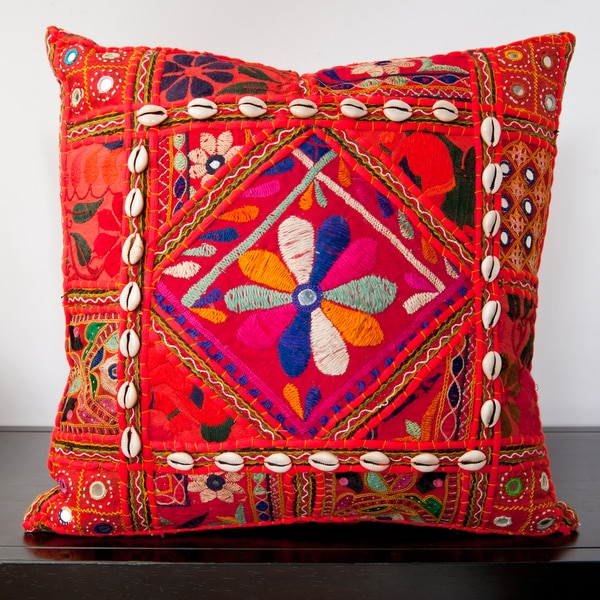 Calista Orange Embroidered 18x18-inch Decorative Pillow