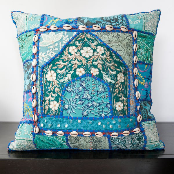 Caley Blue Sari Patchwork 18-inch Decorative Pillow