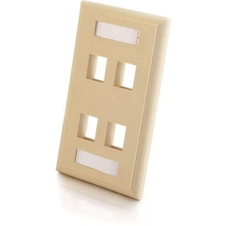C2G 4-Port Single Gang Multimedia Keystone Wall Plate - Ivory
