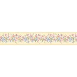 Brewster Pastel Flower Border Wallpaper
