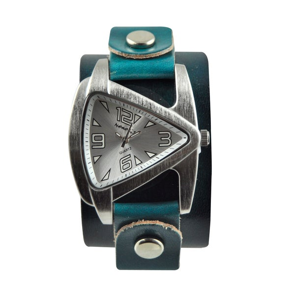 Nemesis Women's Steel Aqua Blue Leather Band Watch