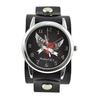 Nemesis Women's 'Wing Heart' Black Leather Strap Watch