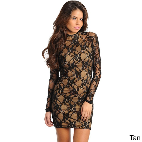 Stanzino Women's Lace Sheath High-neck Party Dress