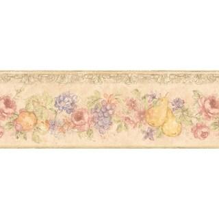 Brewster Beige Fruit Floral Border Wallpaper