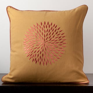 Isabella Golden Floral Burst 18-inch Throw Pillow