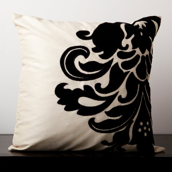 Emma Black and White Baroque 18-inch Decorative Pillow
