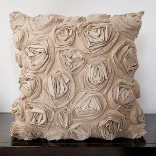 Caimile Beige Rosette 18x18-inch Decorative Down Pillow