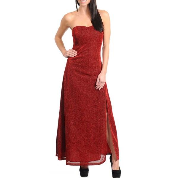 Stanzino Women's Wine Glittery Strapless Long Dress