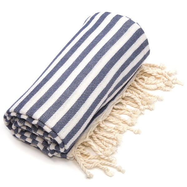 Authentic Pestemal Fouta Midnight Blue Turkish Cotton Bath and Beach Towel