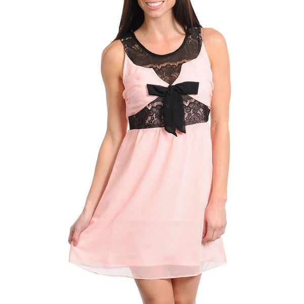Stanzino Women's Peach Lace Inset Sleeveless Dress