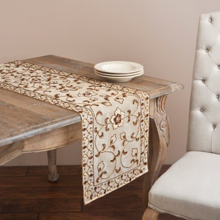 Saro Hand-beaded Champagne Floral Table Linen (3 options available)