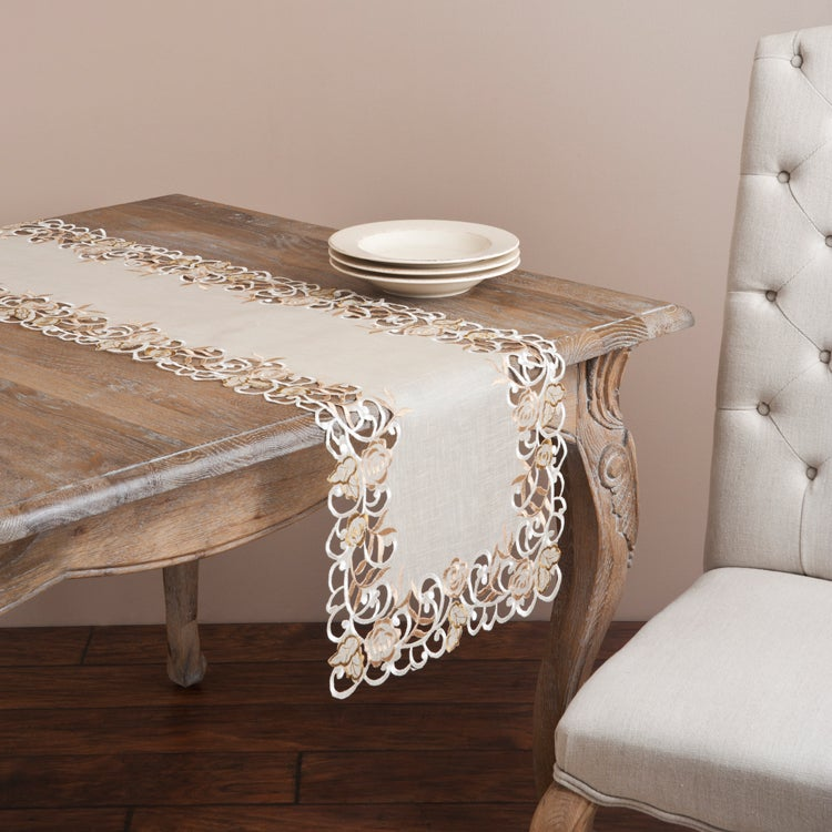 Saro Embroidered and Cutwork Ecru Table Linen (Ecru Table...