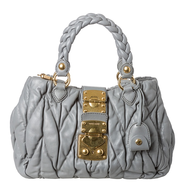Miu Miu Leather Matelassé Satchel Handbag