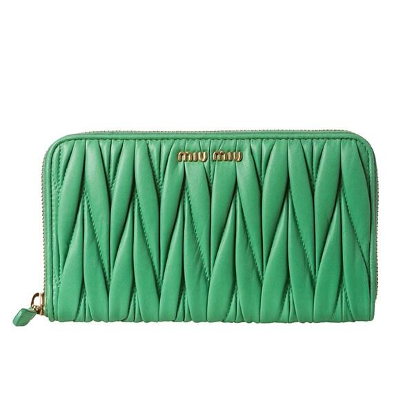 Miu Miu Women's Leather Matelasse Zip-around Wallet