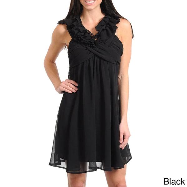 Stanzino Women's Ruffled X-neckline Mini Dress