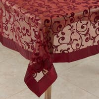 Saro Flocked Design Raisin Table Linen