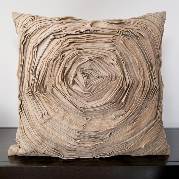 Cailin Tan Rose Ruffle 22x22-inch Decorative Pillow