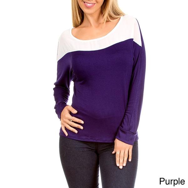 Stanzino Women's Two-tone Long Sleeve Casual Top