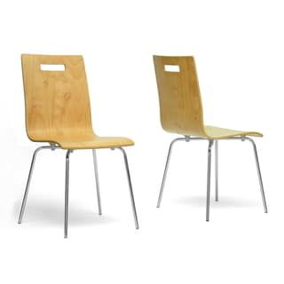 modern light brown wood dining chair 2piece set by baxton studio
