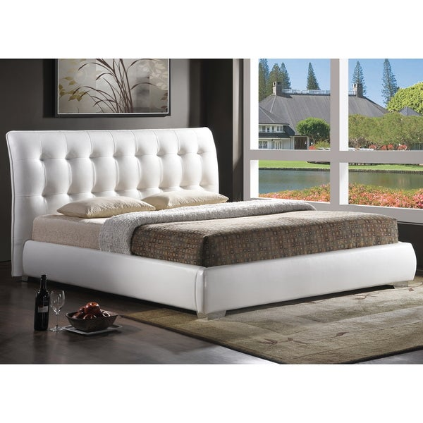 Baxton Studio Jeslyn White Modern Bed With Tufted Headboard King