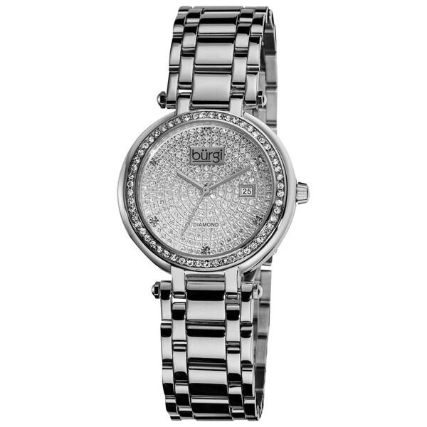 Burgi Women's Silver-Tone Stainless Steel Pave Pattern Diamond Bracelet Watch