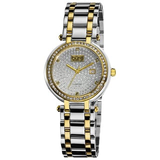 Burgi Women's Stainless Steel Pave Pattern Diamond Two-Tone Bracelet Watch