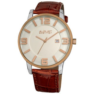 August Steiner Men's Slim Swiss Quartz Date Leather Brown Strap Watch