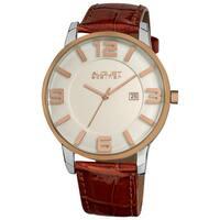 August Steiner Men's Slim Swiss Quartz Date Leather Brown Strap Watch