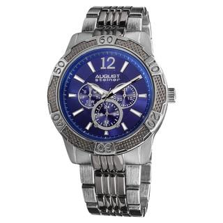 August Steiner Men's Quartz Sport Multifunction Blue-Dial Bracelet Watch