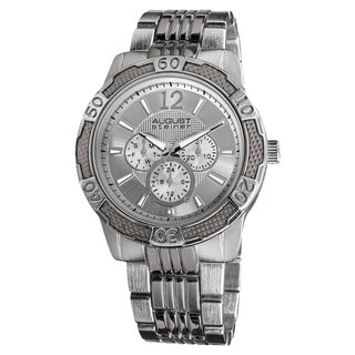 August Steiner Men's Quartz Sport Multifunction Silver-Tone Bracelet Watch