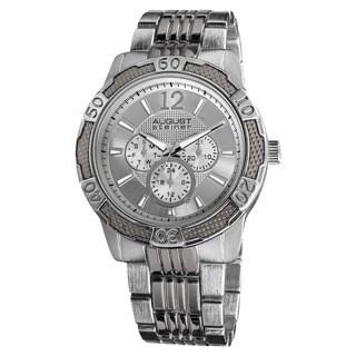 August Steiner Men's Quartz Sport Multifunction Silver-Tone Bracelet Watch