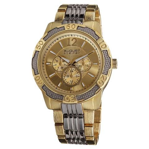 August Steiner Men's Quartz Sport Multifunction Goldtone-Dial Bracelet Watch