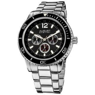 August Steiner Men's Quartz Multifunction Divers Black Bracelet Watch