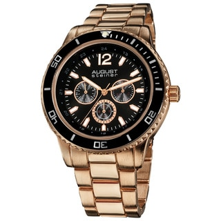 August Steiner Men's Goldtone Quartz Multifunction Divers Rose-Tone Bracelet Watch