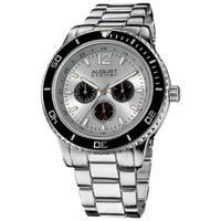 August Steiner Men's Quartz Silvertone Multifunction Divers Bracelet Watch