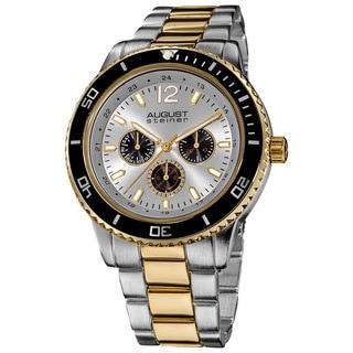 August Steiner Men's Quartz Multifunction Divers Two-Tone Bracelet Watch
