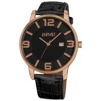August Steiner Men's Slim Swiss Quartz Date Leather Strap Rose-Tone Watch