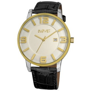 August Steiner Men's Slim Swiss Quartz Date Leather Gold-Tone Strap Silver-Tone Watch