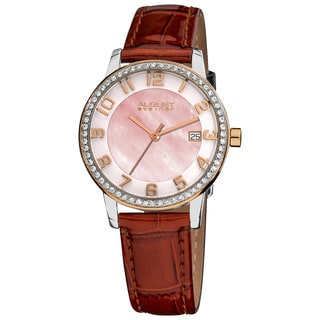 August Steiner Women's Swiss Quartz Mother of Pearl Crystal Brown Strap Watch