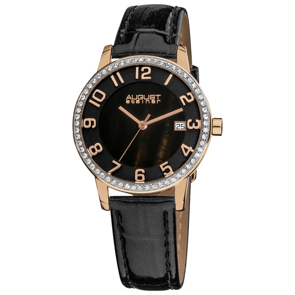 August Steiner Women's Swiss Quartz Mother of Pearl Crystal Strap Watch with Rose-Tone Hands - Gold