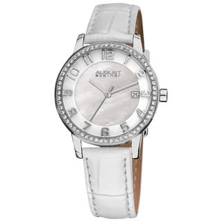 White August Steiner Women's Swiss Quartz Mother of Pearl Crystal Strap Watch with FREE GIFT - Silver (Option: White)|https://ak1.ostkcdn.com/images/products/7737913/7737913/August-Steiner-Womens-Swiss-Quartz-Mother-of-Pearl-Crystal-Strap-Watch-P15137538.jpg?impolicy=medium