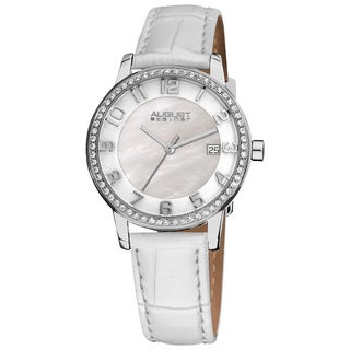 White August Steiner Women's Swiss Quartz Mother of Pearl Crystal Strap Watch with FREE Bangle - silver